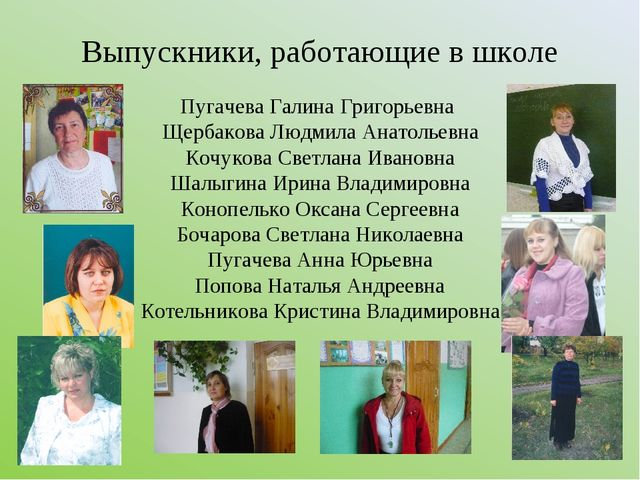 Выпускники, работающие в школе Пугачева Галина Григорьевна Щербакова Людмила...