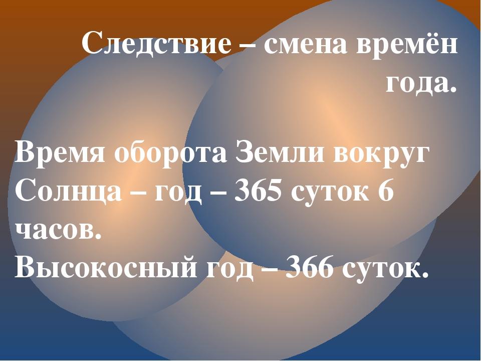 Следствие – смена времён года. Время оборота Земли вокруг Солнца – год – 365...