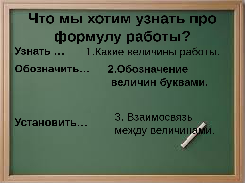 Что мы хотим узнать про формулу работы? Узнать … Обозначить… Установить… 1.Ка...