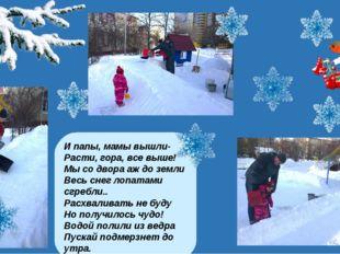 И папы, мамы вышли- Расти, гора, все выше! Мы со двора аж до земли Весь снег