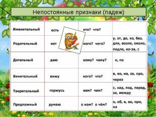 http://aida.ucoz.ru Непостоянные признаки (падеж)