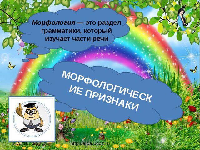 http://aida.ucoz.ru Морфология — это раздел грамматики, который изучает част...