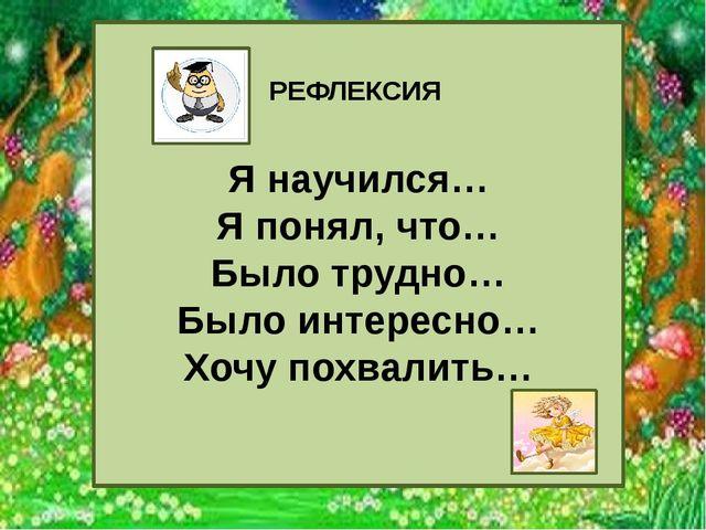 http://aida.ucoz.ru РЕФЛЕКСИЯ Я научился… Я понял, что… Было трудно… Было ин...