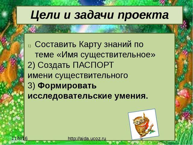 Цели и задачи проекта http://aida.ucoz.ru Составить Карту знаний по теме «Имя...