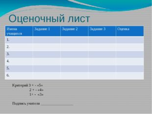 Оценочный лист Критерий 3 + - «5» 2 + - «4» 1+ - «3» Подпись учителя ________