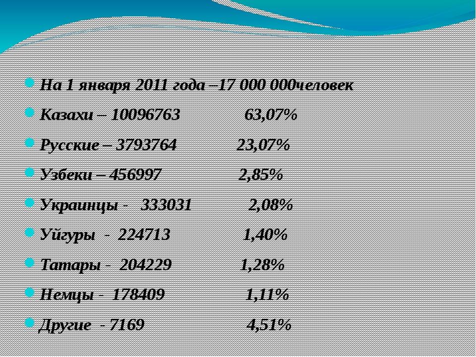 На 1 января 2011 года –17 000 000человек Казахи – 10096763 63,07% Русские – 3...