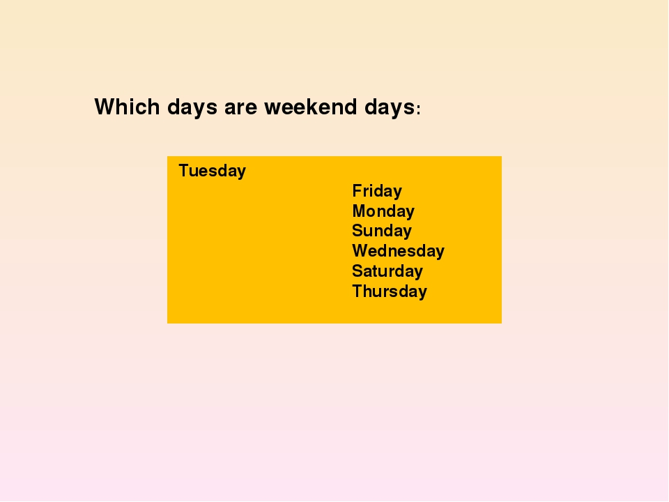 Tuesday Friday Monday Sunday Wednesday Saturday Thursday Which days are week...
