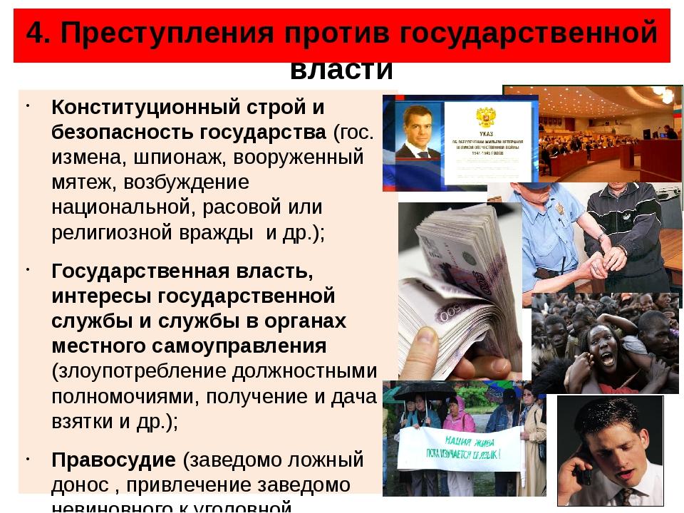 4. Преступления против государственной власти Конституционный строй и безопас...
