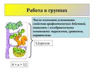 12орехов Работа в группах 4 + а = 12 Числа помогают установить свойства арифм