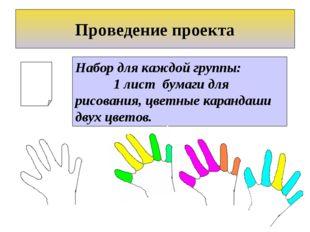 Набор для каждой группы: 1 лист бумаги для рисования, цветные карандаши двух