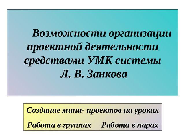 Возможности организации проектной деятельности средствами УМК системы Л. В....