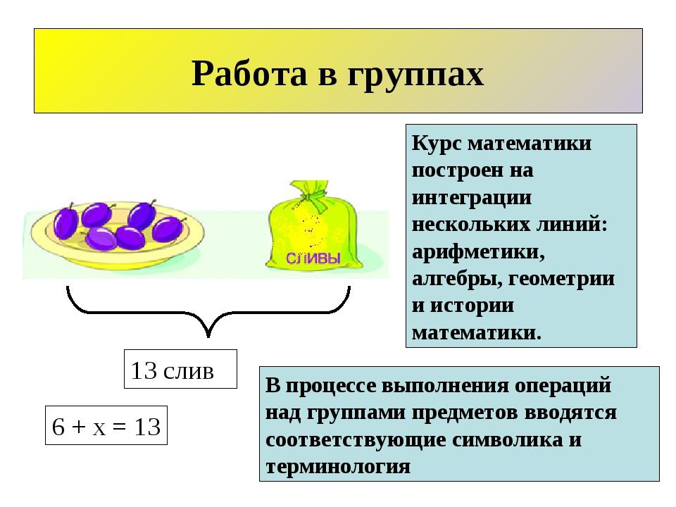 Работа в группах 13 слив 6 + x = 13 Курс математики построен на интеграции не...