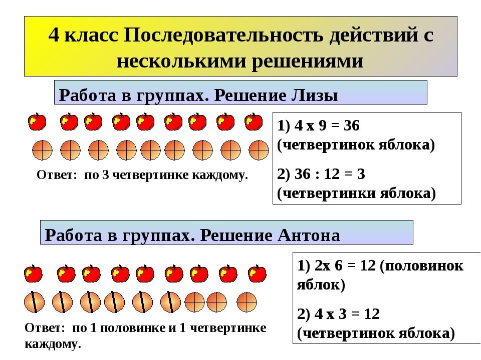 1) 4 х 9 = 36 (четвертинок яблока) 2) 36 : 12 = 3 (четвертинки яблока) Работа...