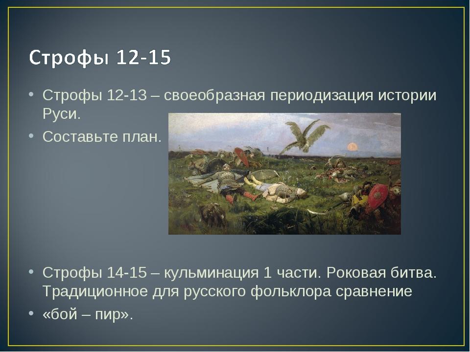 Строфы 12-13 – своеобразная периодизация истории Руси. Составьте план. Строфы...