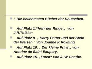 """I. Die beliebtesten Bücher der Deutschen. Auf Platz 1.""""Herr der Ringe """""""