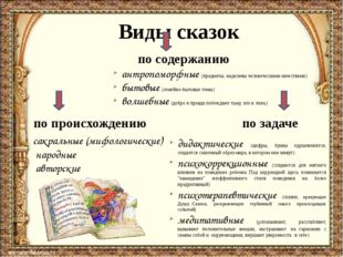 Виды сказок по содержанию по происхождению по задаче сакральные (мифологичес