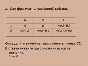 2. Дан фрагмент электронной таблицы: Определите значение, записанное в ячейке