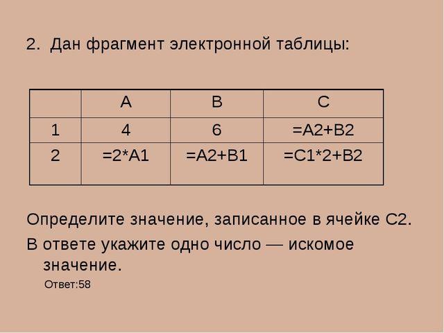 2. Дан фрагмент электронной таблицы: Определите значение, записанное в ячейке...