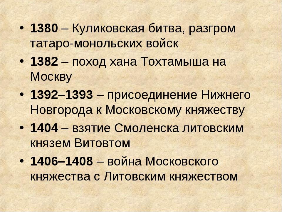 1380 – Куликовская битва, разгром татаро-монольских войск 1382 – поход хана Т...