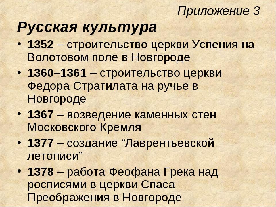 Приложение 3 Русская культура 1352 – строительство церкви Успения на Волотово...
