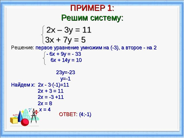 ПРИМЕР 1: Решим систему: 2х – 3у = 11 3х + 7у = 5 Решение: первое уравнение у...