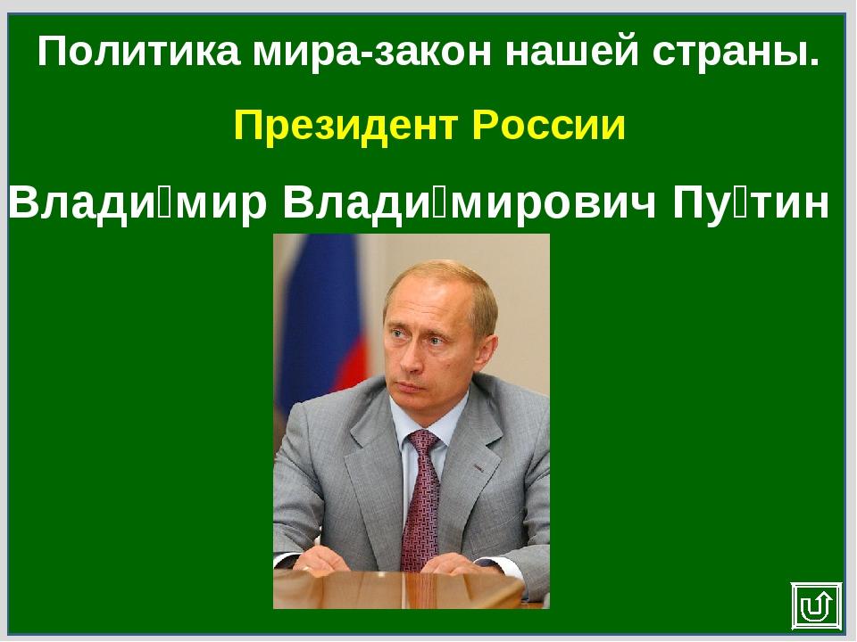 Президент России Политика мира-закон нашей страны. Влади́мир Влади́мирович Пу...