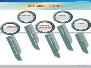 www.themegallery.com Company Logo ПРАВИЛЬНЫЙ ОТВЕТ: КАРТОФЕЛЬНОЕ ПЮРЕ СМЕТАНН
