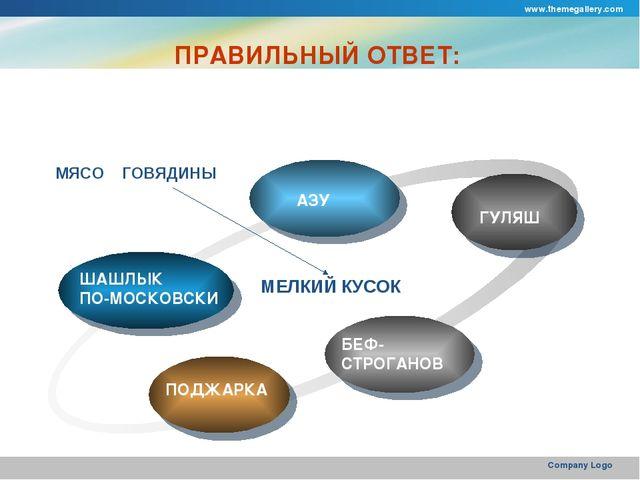 www.themegallery.com Company Logo ПРАВИЛЬНЫЙ ОТВЕТ: ШАШЛЫК ПО-МОСКОВСКИ АЗУ Г...