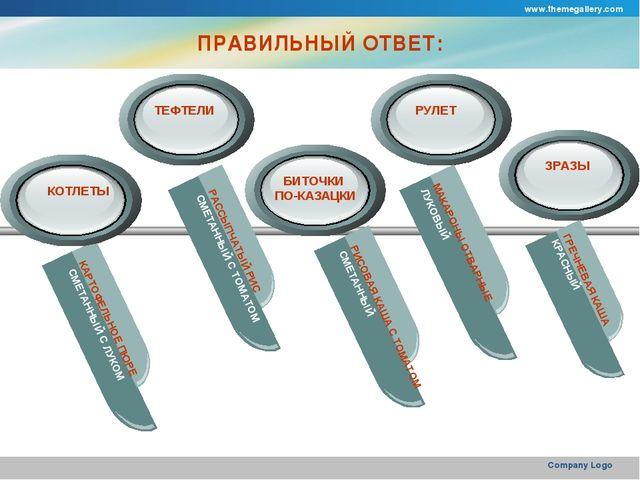 www.themegallery.com Company Logo ПРАВИЛЬНЫЙ ОТВЕТ: КАРТОФЕЛЬНОЕ ПЮРЕ СМЕТАНН...