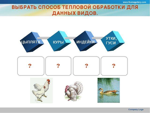 www.themegallery.com Company Logo ВЫБРАТЬ СПОСОБ ТЕПЛОВОЙ ОБРАБОТКИ ДЛЯ ДАННЫ...