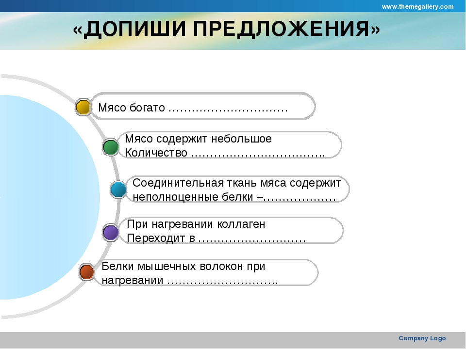 www.themegallery.com Company Logo «ДОПИШИ ПРЕДЛОЖЕНИЯ» Белки мышечных волокон...