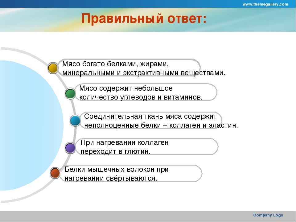 www.themegallery.com Company Logo Правильный ответ: Белки мышечных волокон пр...