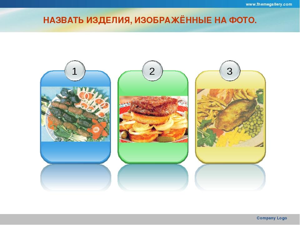 www.themegallery.com Company Logo НАЗВАТЬ ИЗДЕЛИЯ, ИЗОБРАЖЁННЫЕ НА ФОТО. 1 2...