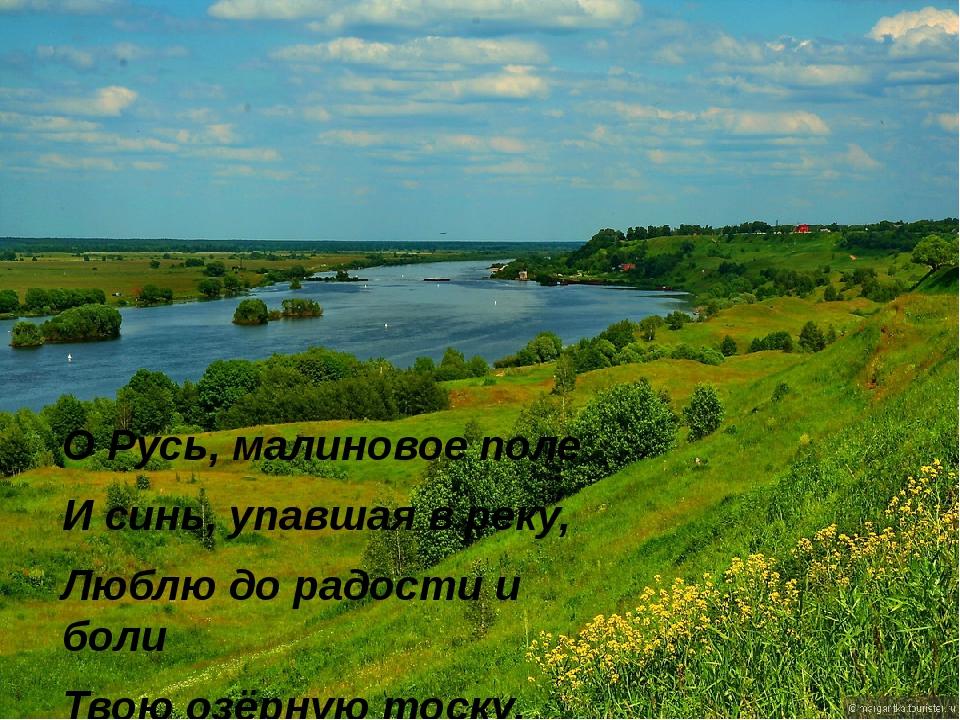 О Русь, малиновое поле И синь, упавшая в реку, Люблю до радости и боли Твою о...
