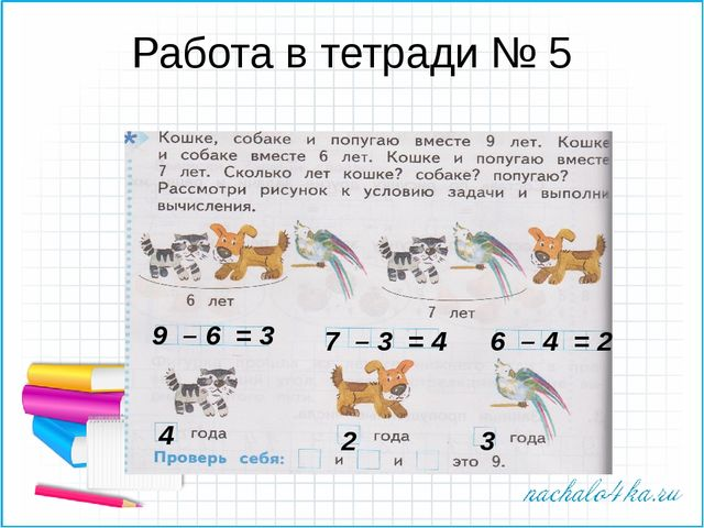 Работа в тетради № 5 9 – 6 = 3 7 – 3 = 4 6 – 4 = 2 4 2 3