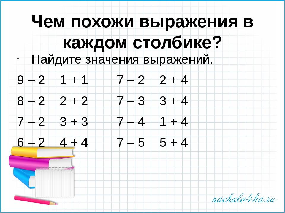 Чем похожи выражения в каждом столбике? Найдите значения выражений. 9 – 21...