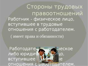 Стороны трудовых правоотношений Работник - физическое лицо, вступившее в труд