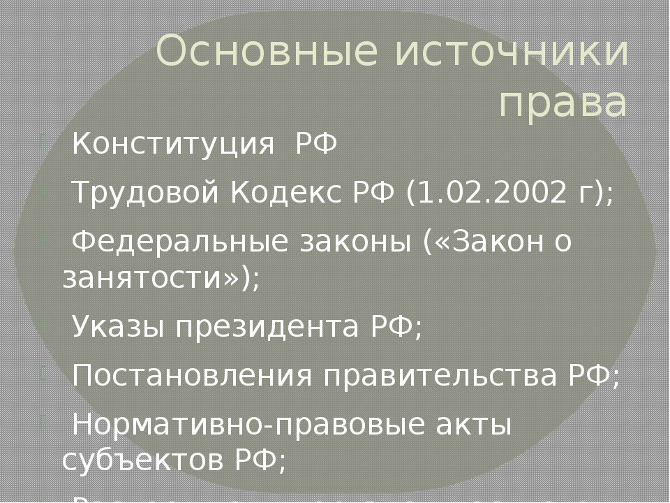 Основные источники права Конституция РФ Трудовой Кодекс РФ (1.02.2002 г); Фед...
