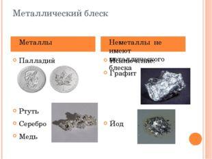 Металлический блеск Палладий Ртуть Серебро Медь Исключение: Графит Йод Металл