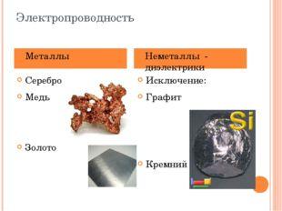 Электропроводность Серебро Медь Золото Алюминий Исключение: Графит Кремний Ме