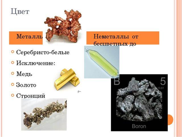 Цвет Серебристо-белые Исключение: Медь Золото Стронций Металлы Неметаллы от б...