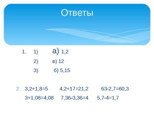 1. 1) а) 1,2 2) в) 12 3) б) 5,15 3,2+1,8=5 4,2+17=21,2 63-2,7=60,3 3+1,08=4,