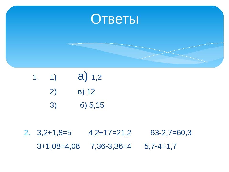 1. 1) а) 1,2 2) в) 12 3) б) 5,15 3,2+1,8=5 4,2+17=21,2 63-2,7=60,3 3+1,08=4,...
