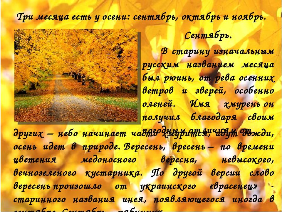 Три месяца есть у осени: сентябрь, октябрь и ноябрь. Сентябрь. В старину изна...