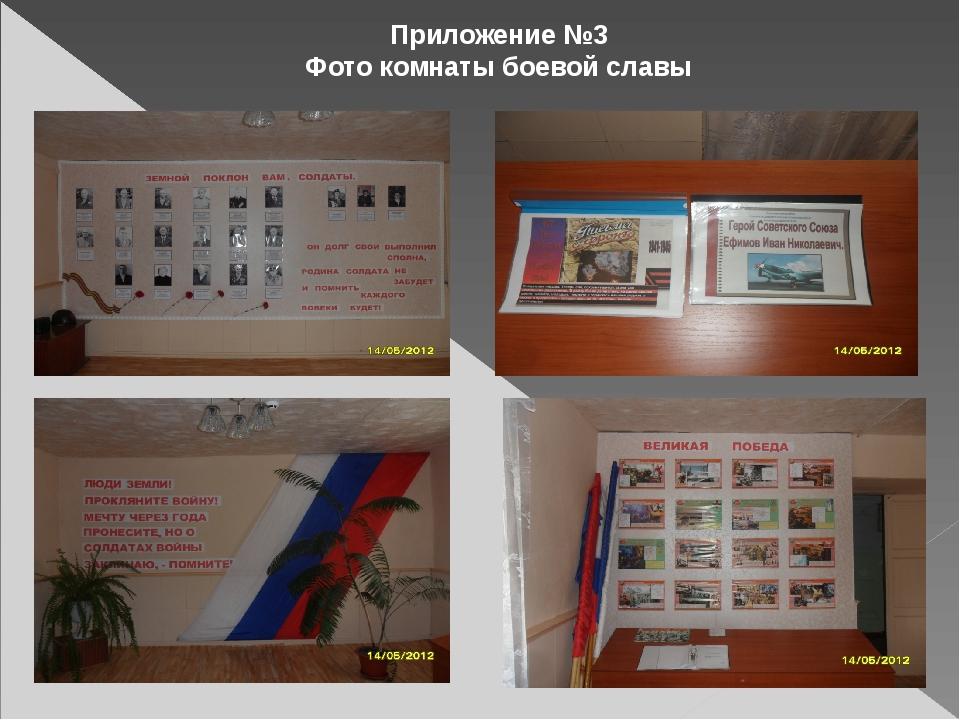 Приложение №3 Фото комнаты боевой славы