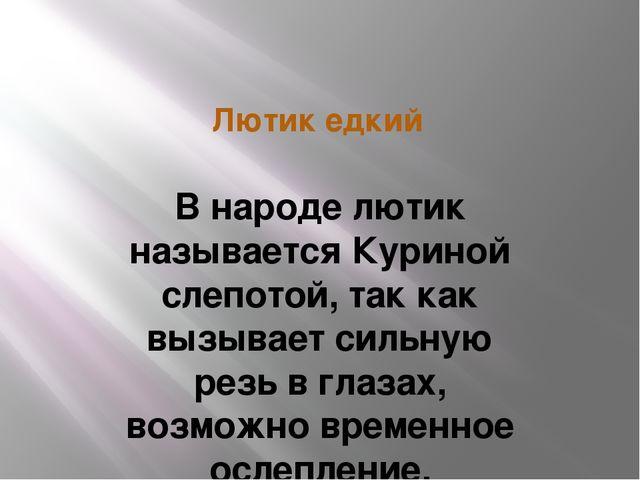 Лютик едкий В народе лютик называется Куриной слепотой, так как вызывает силь...