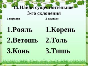 15.Найди существительное 3-го склонения Рояль Ветошь Конь 2 вариант Корень То