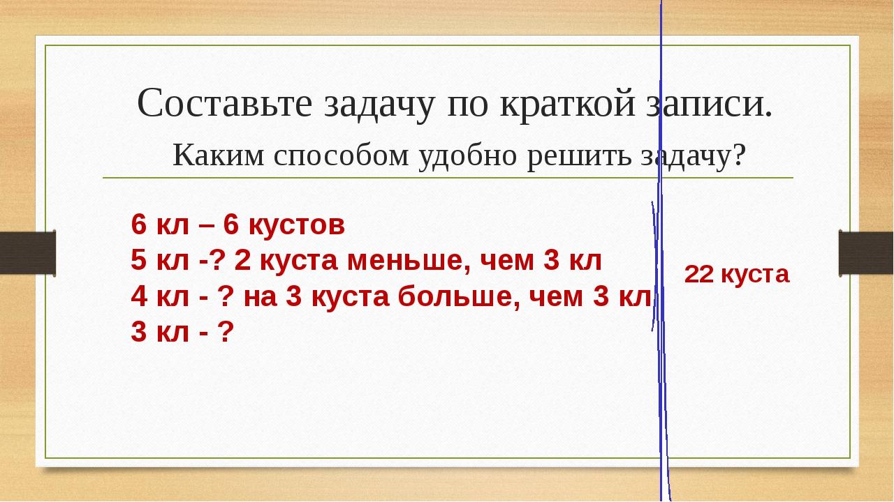 Составьте задачу по краткой записи. Каким способом удобно решить задачу? 6 кл...