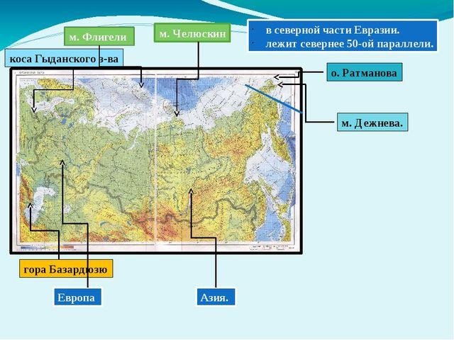 в северной части Евразии. лежит севернее 50-ой параллели. Европа Азия. м. Фл...