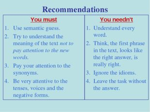Recommendations You must Use semantic guess. Try to understand the meaning of